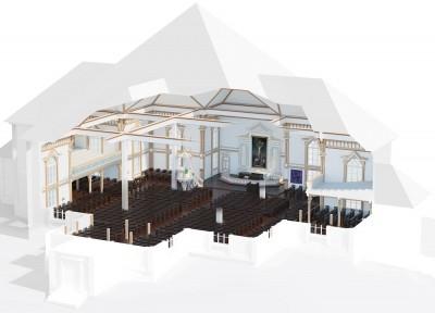 Kangasniemen kirkon läpileikkauskuva