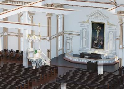 Kangasniemen kirkon läpileikkauskuva, lähikuva