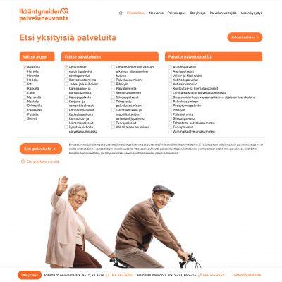 Ikääntyneiden palveluneuvonta, nettisivusto ja palveluhaku